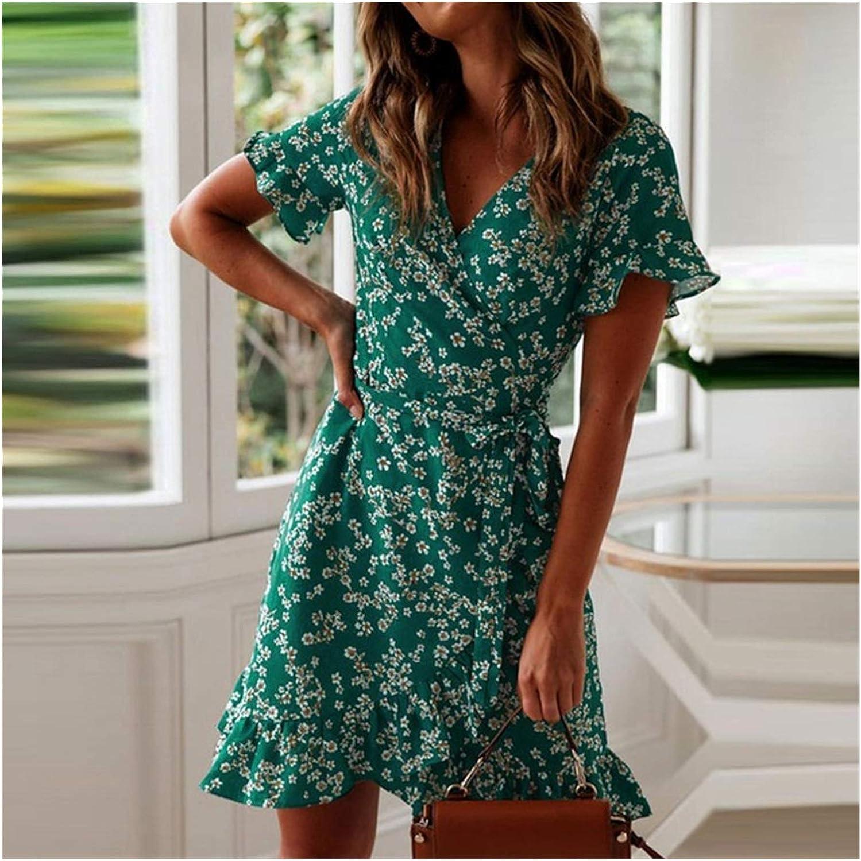 ZZRR ZHUORUIJPN Women's Dress Summer Sexy Bohemian V-Neck New New Orleans Mall Shipping Free Floral
