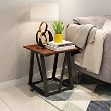 End Table Chair Side Table with Lower Shelf 17.7 Dx19.68 H Nightstand for Living Room