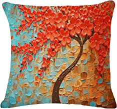 QINU KEONU Oil Painting Black Large Tree and Flower Birds Cotton Linen Throw Pillow Case Cushion Cover Home Sofa Decorative 18 X 18 Inch (Brown Tree)