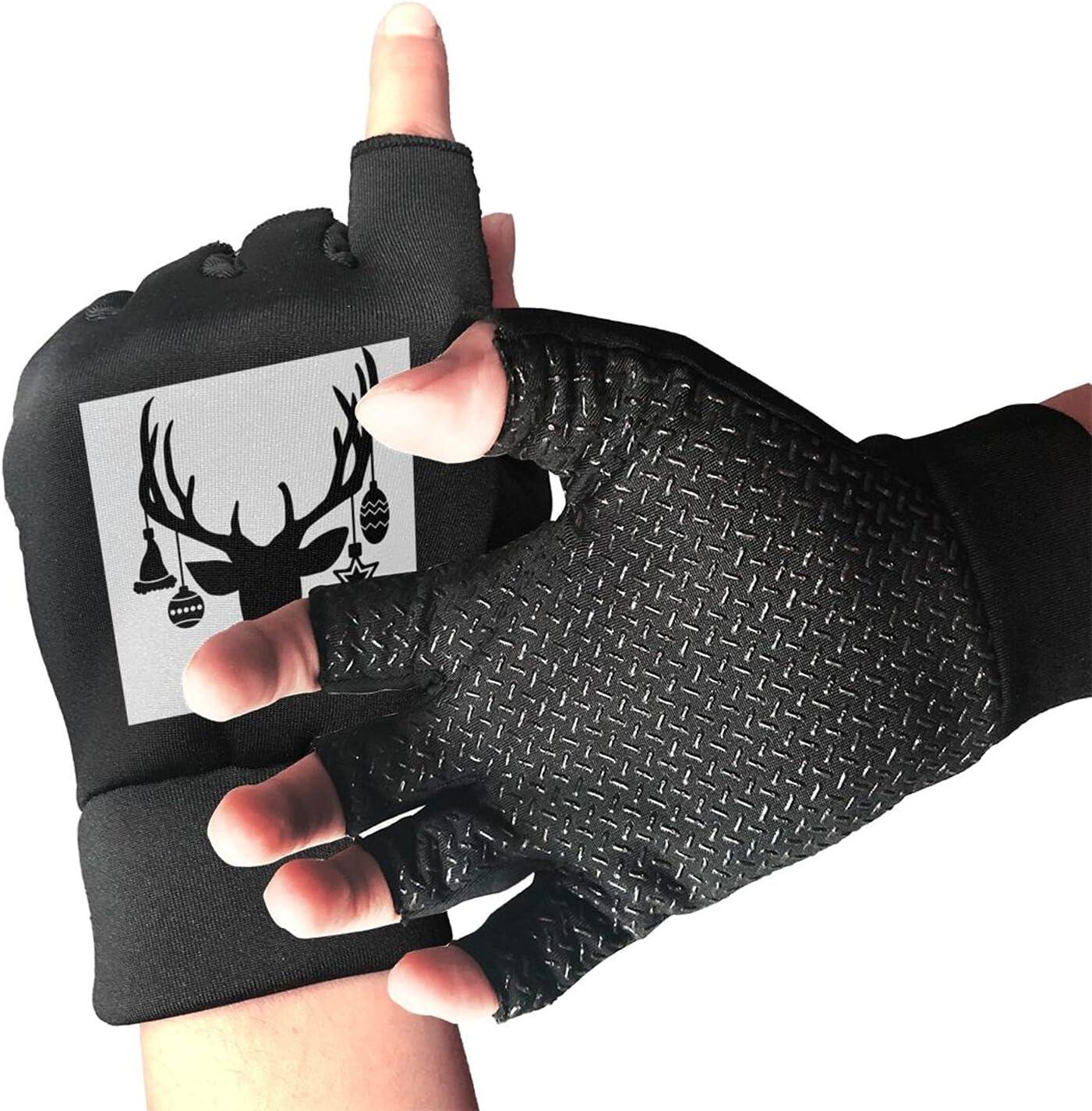 Merry Christmas Unisex Half Finger Non-Slip Gloves Lightweight depot Online limited product D
