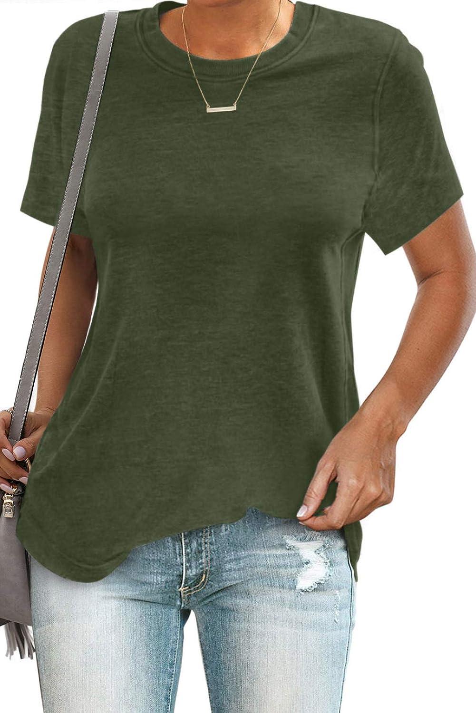 Pevilo Womens Short Sleeve Crewneck/Shirts Loose Casual Basic Tee T-Shirt Tops