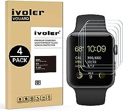 iVoler [4 Pack] Pellicola Vetro Temperato per Apple Watch 38mm Series 3 / Series 2 / Series 1 [Garanzia a Vita], Pellicola Protettiva Protezione per Schermo per Apple Watch 38mm Series 3/2 / 1