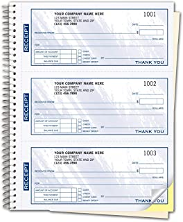 CheckSimple Blue Cash Receipt Books, 3-to-a-Page w/Duplicates, Wire-Bound Book (500 Receipts)
