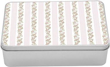 Lunarable Floral Tin Box, English Flower Pattern with Stripes Romantic Spring Garden Theme Feminine, Portable Rectangle Metal