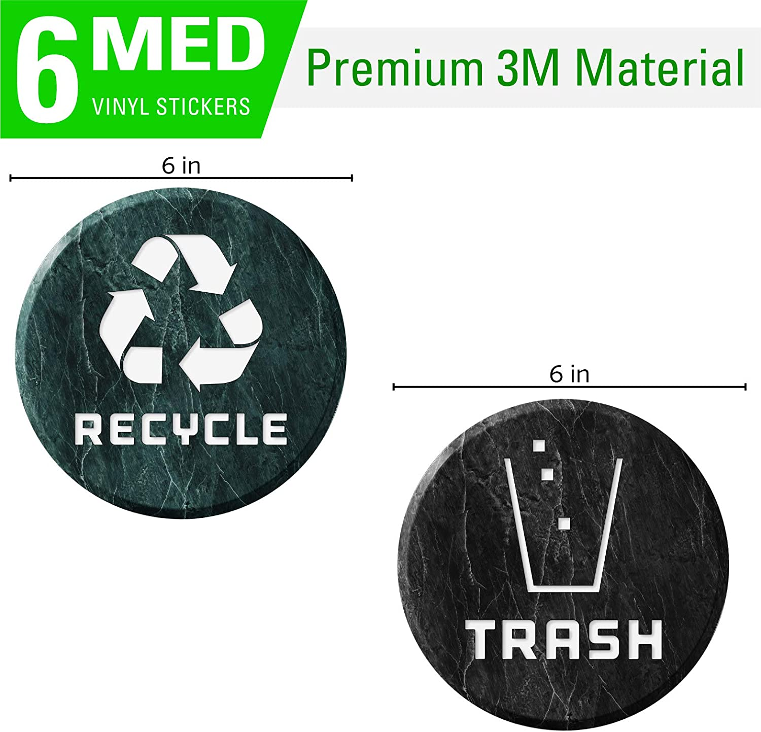 Recycle Logo and Trash can Sticker to Organize Your Trash 4in x 4in, Marble-04 6 Pack 4in x 4in Garbage containers and Recycle Bins for Trash cans Premium Vinyl Decal