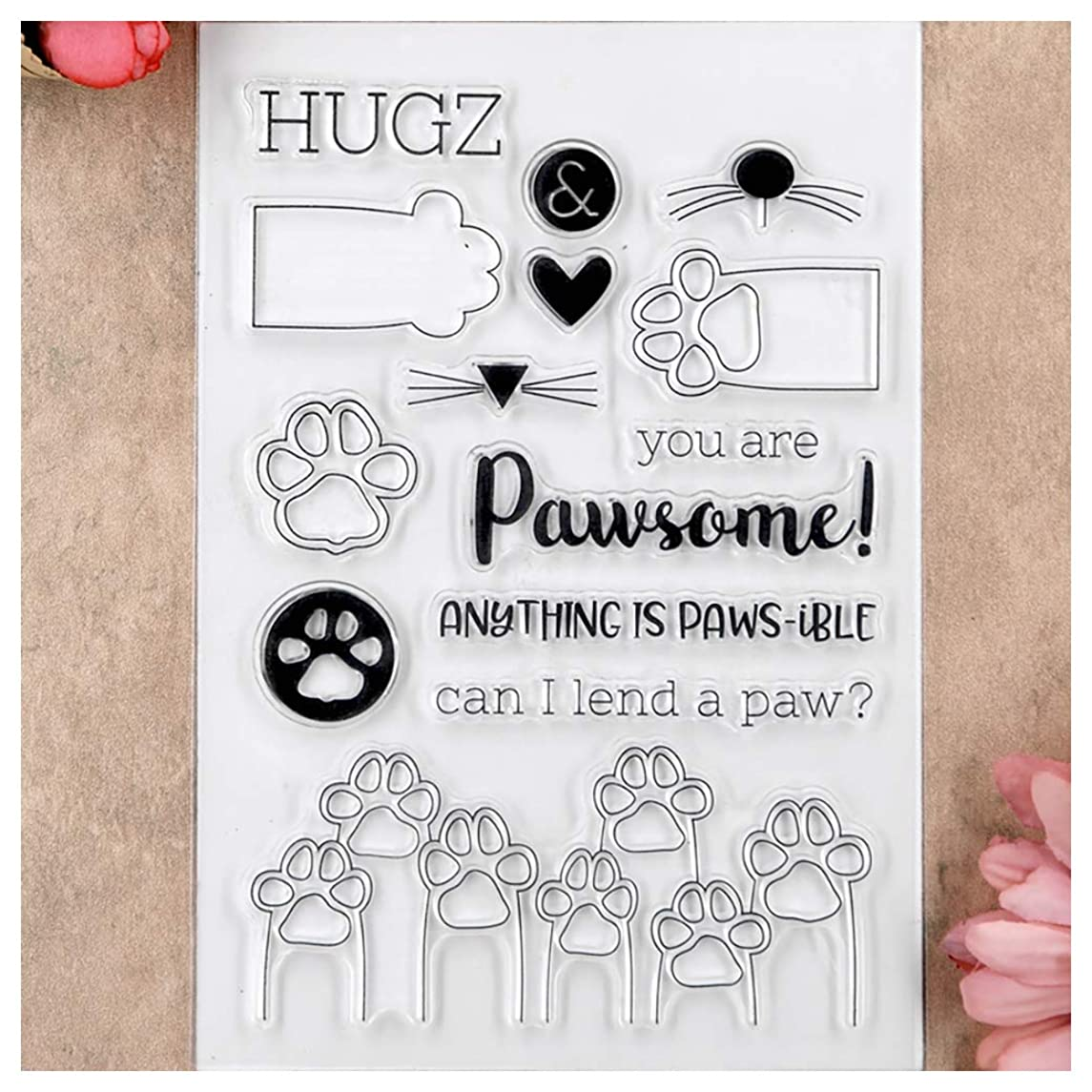 Kwan Crafts Paw Clear Stamps for Card Making Decoration and DIY Scrapbooking