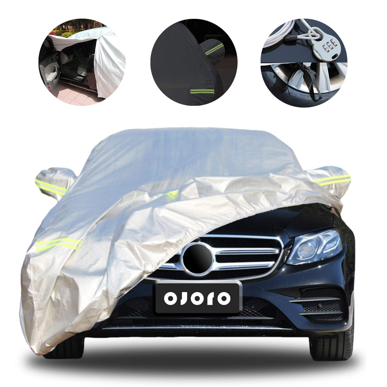 Up to 485 cm Car Cover Sedan Car Sun Protection Waterproof//Windproof//Scratch Resistant//Reflective Strips for Automobiles Use 459-485cm Silver Universal Full Car Covers with Zipper Door