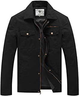 WenVen Men's Casual Canvas Cotton Military Lapel Jacket