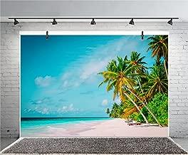 Leyiyi 8x6ft Photography Background Seaside Backdrop Wedding Party Ocean Waves Sand Beach Palm Trees Deck Chair Island Hawaiian Luau Birthday Honeymoon Travel Photo Portrait Vinyl Studio Video Prop