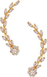 Archi Collection Gold Plated White Earrings for Women