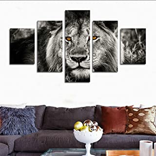 hcozy H.Cozy 5 Piece Black White Gray Lion Head Portrait Wall Art Painting Pictures Print On Canvas Animal The Picture Home Modern Decoration Unframed far163 50 inch x30 inch…