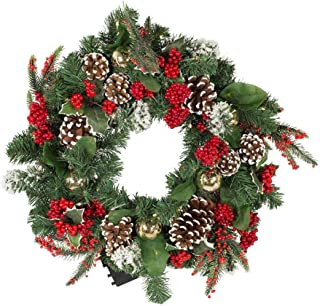 Kurt Adler 18-inch Battery-Operated LED Holly Berry and Pinecone Wreath