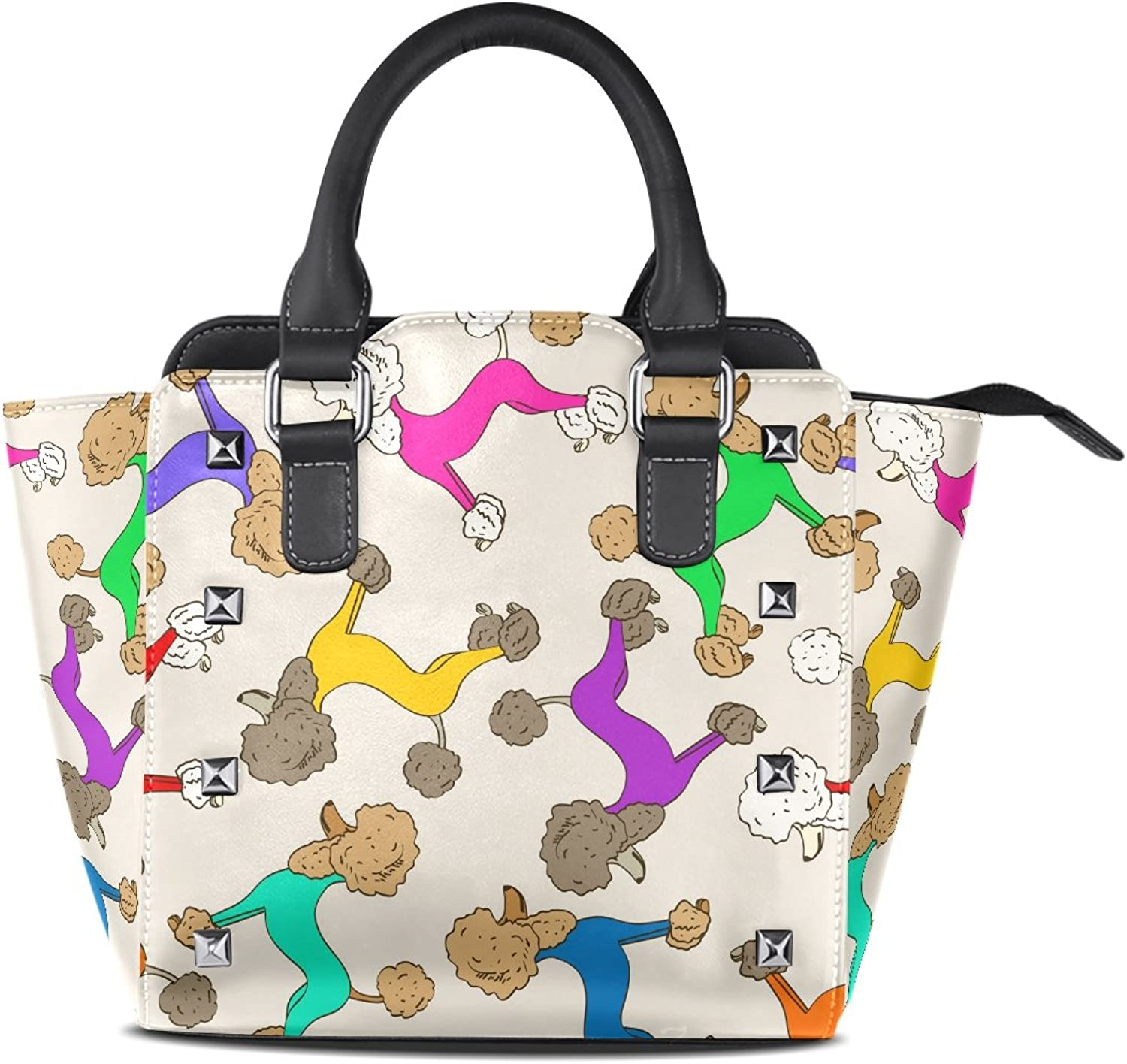 Sunlome colorful Poodle Dogs Puppy Print Handbags Women's PU Leather Top-Handle Shoulder Bags