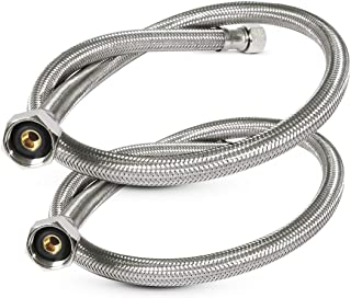 FlexCraft 27124-NL-2, Faucet Supply Line Connects Kitchen Sink To Water Supply, Braided Faucet Connector With 1/2 In x 3/8 In Brass Nut, Stainless Steel 24 In (Pack Of 2)