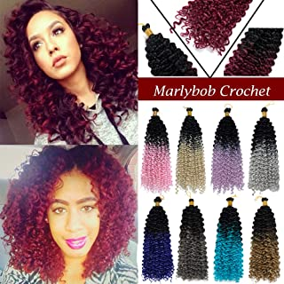 [6 Bundles/ 2PACKS]Marlybob Crochet Hair Extension Marlibob Water Wave Kinky Curly Jerry Curly Braiding Crochet Hair Marley Braid Hair Bundle Synthetic Hairpiece (8