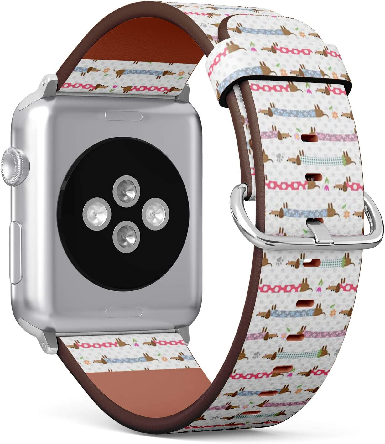 Compatible with Apple Watch Serie 6/5/4/3/2/1 (Big Version 42/44 mm) Leather Wristband Bracelet Replacement Accessory Band + Adapters - Cute Dachshunds Striped