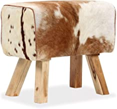 L x B x H Polsterhocker aus Echtes Ziegenleder 40 x 30 x 45 cm Tidyard Holzhocker mit Fellbezug