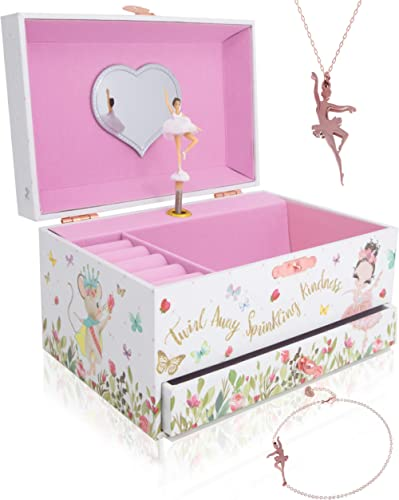 The Memory Building Company Musical Ballerina Jewelry Box for Girls & Little Girls Jewelry Set - 3 Dancer Gifts for G...