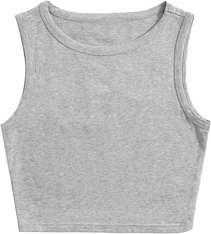 SheIn Women's Sleeveless Round Neck Basic Racerback Camisole Knit Crop Tank Tops