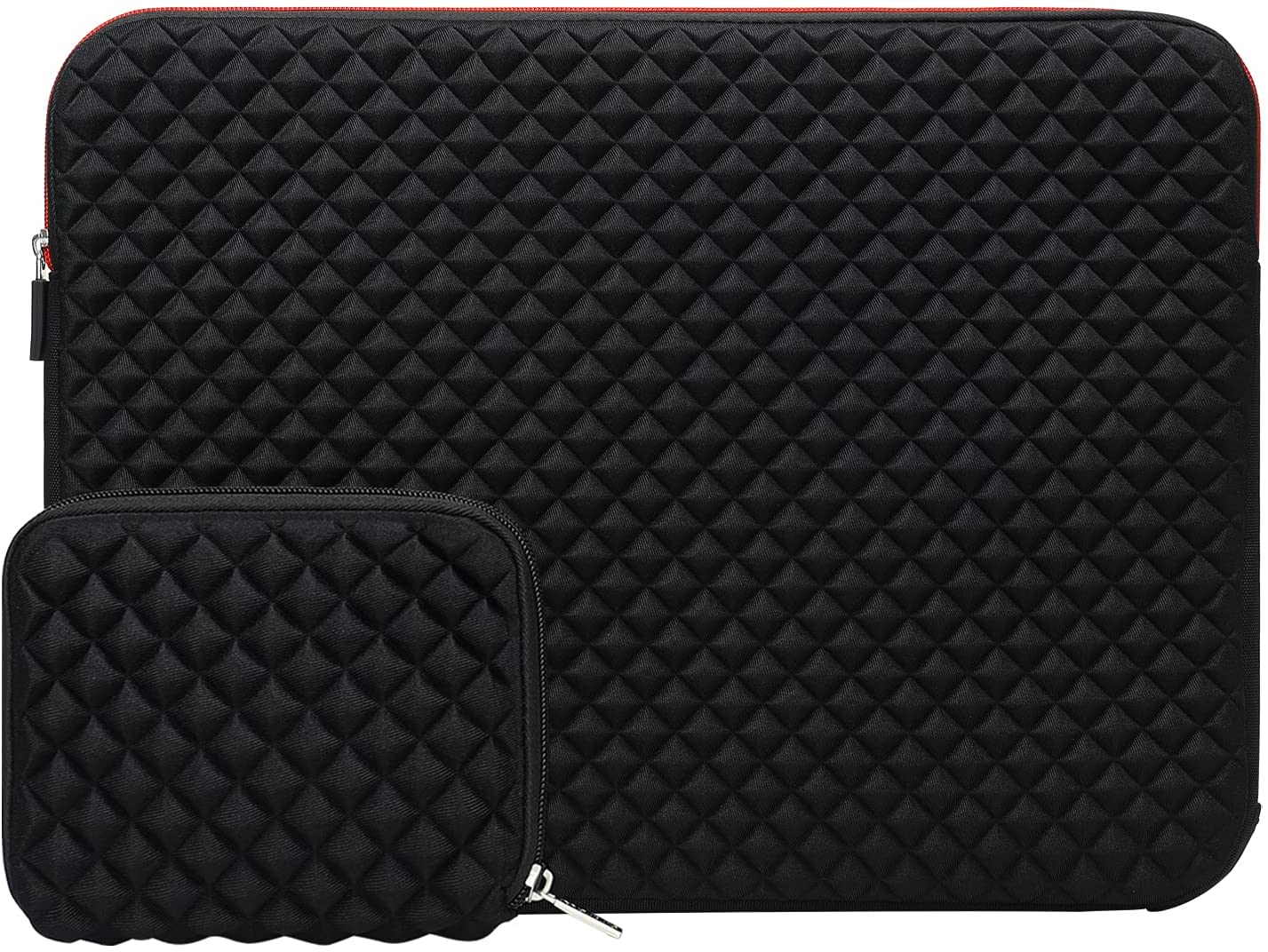 MOSISO Laptop Sleeve Compatible with 17-17.3 inch Dell Inspiron/HP Pavilion/Ideapad/Acer/Alienware/HP Omen, Neoprene Diamond Foam Carrying Bag Cover with Corner Protection & Small Case, Black