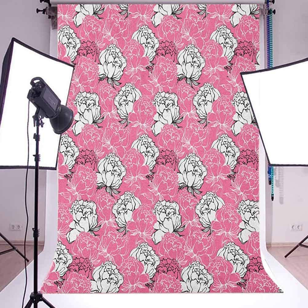 8x12 FT Vinyl Photography Background Backdrops,Vintage Flower Blooms Composition Ornamental Spring Season Illustration Background for Child Baby Shower Photo Studio Prop Photobooth Photoshoot
