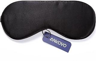 ANKOVO Antifaz para dormir hecho de seda natural, muy suave, ideal para viajes, turnos de trabajo y meditación