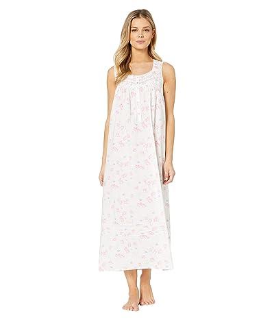 Eileen West Cotton Lawn Woven Sleeveless Ballet Nightgown (White Ground/Tossed Floral) Women