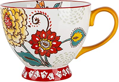 Coffee Mug, Hand-Painted Floral Pattern Ceramic Mugs 15 OZ Large Cup for Coffee, Milk, Latte, Cappuccino, Tea, Cocoa, Birthday Christmas Mothers Day Valentine's Day Gifts for Family, Friend (1 pack)