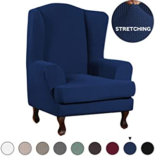 Turquoize Wingback Armchair Chair Slipcovers Spandex Jacquard Sofa Covers Stretch Wing Chair Slipcover 2-Piece Spandex Fabric Wing Back Wingback Armchair Chair Slipcovers(Wing Chair, Navy)