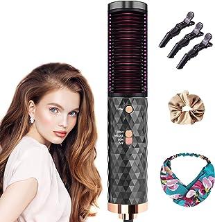 Hårplattång borste, hårtorksborste plattborste LCD-display, bärbar frizzfri elektrisk utjämningsborste med 4 justerbara te...