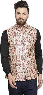 Ben Martin Men's Dupion Silk Nehru Jacket Waistcoat-(BM-WS-Printed-RED-FLW)