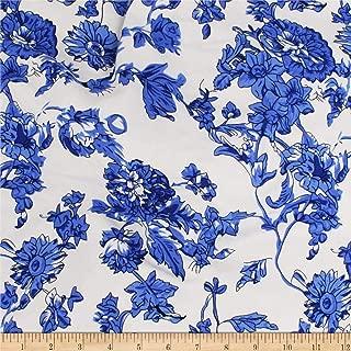 Telio Dakota Rayon Jersey Knit Floral Fabric, Royal, Fabric By The Yard