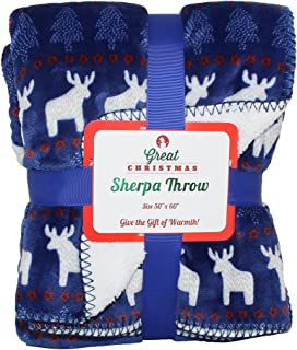 SILVER ONE Luxury Great Christmas Faux Fur Throw Sherpa All Season Decorative Blanket for Bed or Couch | 50