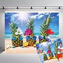 Qian 7x5ft Vinyl Hawaiian Seaside Theme Photography Backdrops Sunshine Beach Sky Pineapple Photo Background for Wedding Summer Holiday Party Decoration Starfish Fruit Studio Props Banner