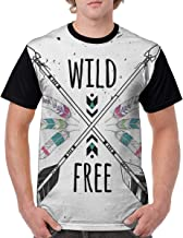 Man's T Shirts,Crossed Ethnic Arrows with Wild and Free Motivation Quote Primitive Illustration