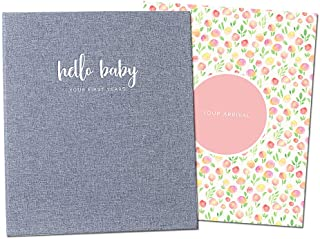 Peachly Minimalist Baby Memory Book for Girls Milestone Keepsake Journal   First Five Years Baby Girl Memory Book   Baby K...