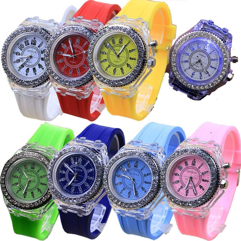 Limited time trial price 8 Pack LED Luminous Lights Free shipping Watches Unisex Men for Women J Summer