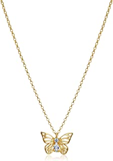 "Kate Spade New York ""Mini Pendant Social Butterfly Mini Clear/Gold Pendant Necklaces"