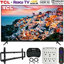 TCL 50S525 50-inch 5-Series Roku Smart HDR 4K UHD TV (2019) Bundle with Vivitar 37-70inch Low Profile Wall Mount Kit, Deco Gear Wireless Keyboard and 6-Outlet Surge Adapter with Night Light
