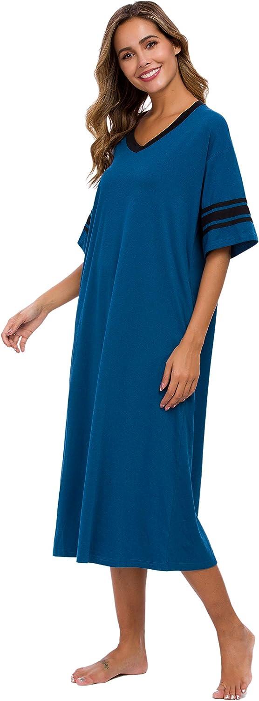 Vslarh Womens Nightgown V Neck Knit Long Sleepwear Short Sleeve Soft Loungewear with Pockets S-XXL