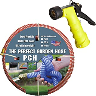 """Tuff-Guard 001-0101-0600-SN75 Thermoplastic Elastomer/Polyester/Polypropylene (PP)/Brass The Perfect Garden Hose, Coupled Male x Female GHT, 5/8"""" x 50', Red, GHT Thread, 50' Length, 0.63"""" ID"""