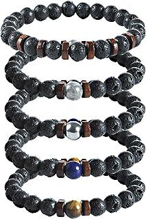 Bracelet Pierre Naturelle, Weinsamkeit 5 Styles Différents de Bracelet Perle Ronde de 8 Mm, Bracelets pour Hommes Et Femme...