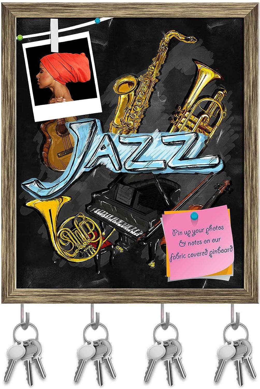 Artzfolio Jazz Artwork Instrument Key Holder Hooks   Notice Pin Board   Antique golden Frame 16 X 18.8Inch