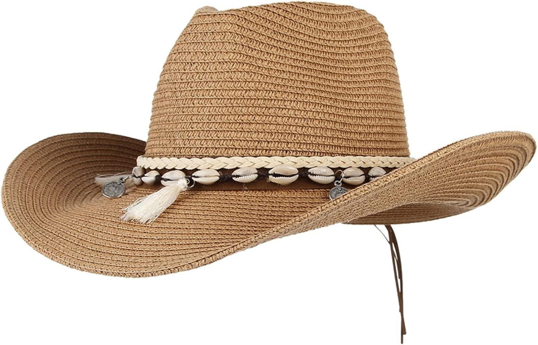 Shell Tassels Cowgirl Summer Hat Straw Hat for Women Men Western Cowboy Hat Lady Trendy Woven Sun Hat Beach Cap