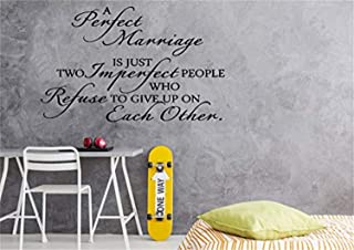 Bro Decals Wall Vinyl Decal Avengers A Perfect Marriage is Just Two Imperfect People Who Refuse to Give Up On Each Other for Wedding Marriage Vinyl Decor Sticker Home Art Print BR8183