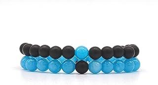 Set Coppia Bracciali della Distanza per Lui e per Lei in Onice Nera opaca e Larimar, elastici, fatti a mano