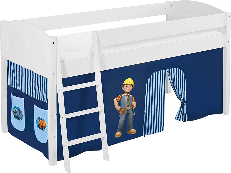 Lilokids IDA 4106 Bob der Baumeister Kinderbett mit Vorhang, Holz, Wei, 208 x 98 x 113 cm