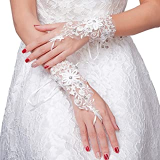 Bride Lace Gloves Short for Wedding Party Evening Opera