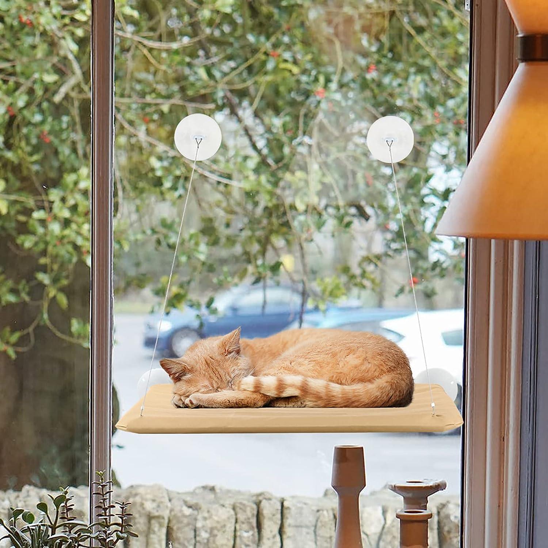 iFCOW Gato cachorro montado en la ventana Cama para tomar el sol para mascotas Estante para gatito Perch Seat Hamaca alta