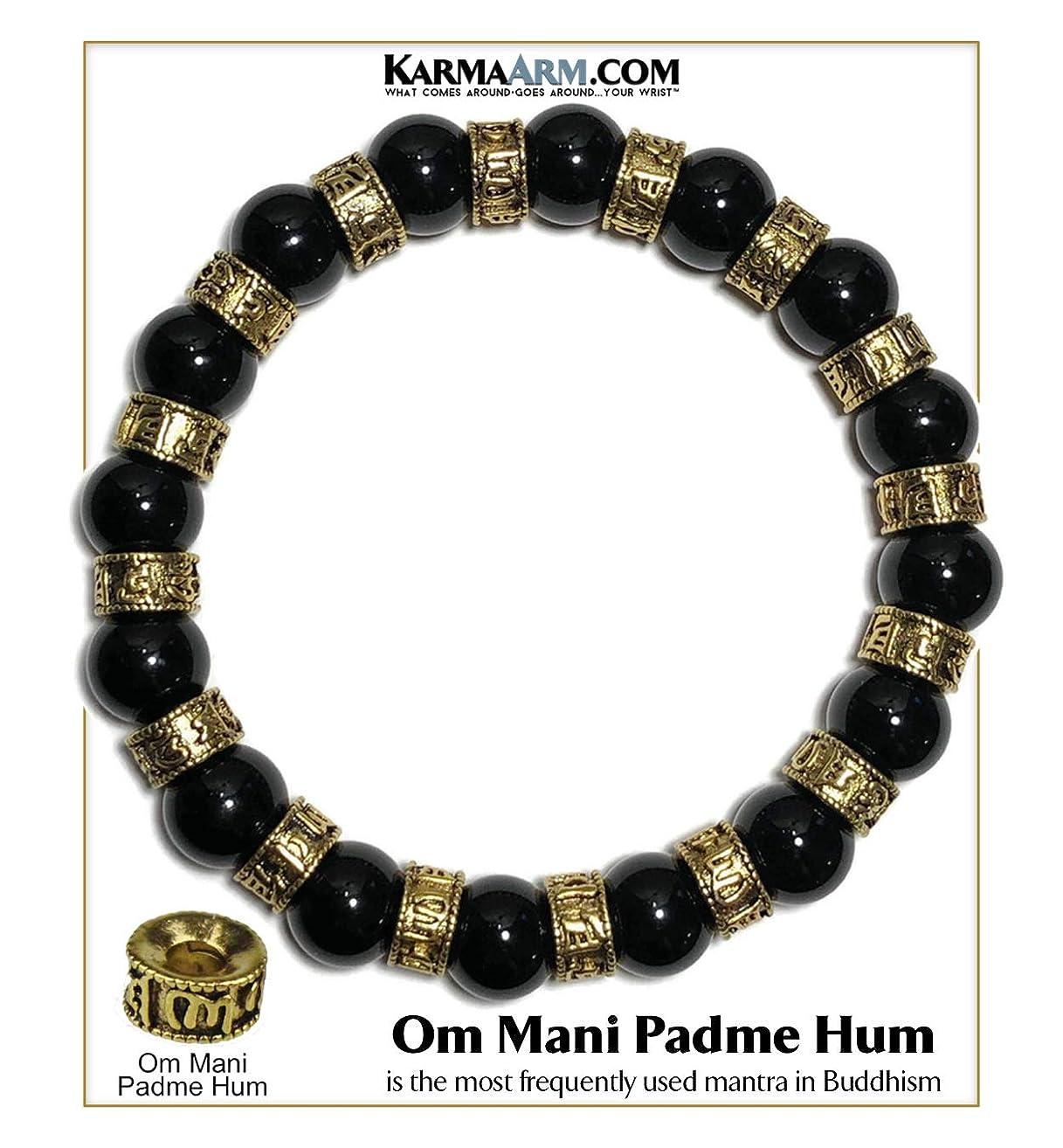 Tibetan Buddhist Mantra Prayer Wheels Bracelet   Om Mani Padme Hum   Yoga Chakra Bracelet   Boho Zen Meditation Self-Care Wellness Jewelry   10mm Black Onyx   Antiqued Gold